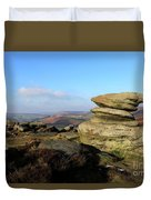 Gritstone Rocks On Hathersage Moor, Derbyshire County Duvet Cover