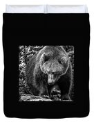 Grizzly Bear In Black And White Duvet Cover