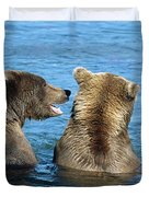 Grizzly Bear Talk Duvet Cover