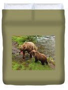 Grizzly Dinner For Two Duvet Cover