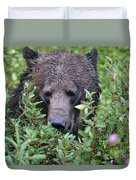 Grizzly In The Berry Bushes Duvet Cover