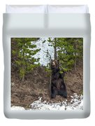 Grizzly Shaking A Tree Duvet Cover