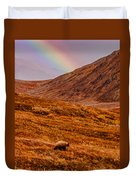 Grizzly Under The Rainbow Duvet Cover