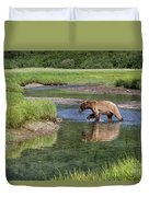 Grizzy Bear Crossing The River Duvet Cover