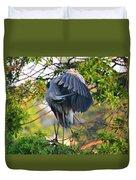 Grooming Blue Heron Duvet Cover