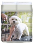 Grooming The Neck Of Adorable White Dog Duvet Cover