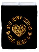 Groovy Golden Heart And I Love You Duvet Cover