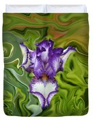 Groovy Purple Iris Duvet Cover by Rebecca Margraf
