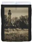Grosse Point Lighthouse Sepia Duvet Cover