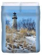 Grosse Point Lighthouse Winter Dunes Duvet Cover