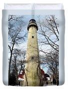 Grosse Point Lighthouse Winter Duvet Cover