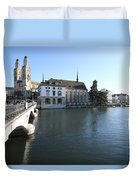 Grossmunster, Wasserkirche And Munsterbrucke - Zurich Duvet Cover