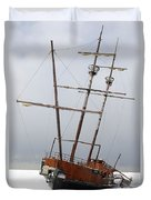 Grounded Ship In Frozen Water Duvet Cover