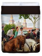 Group Of Couples On Horseback Drinking And Partying At The Sevil Duvet Cover