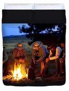 Group Of Cowboys Around A Campfire Duvet Cover