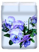 Group Of Purple Pansies And Leaves Duvet Cover