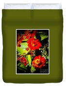 Group Of Small Red Zinnia's Duvet Cover