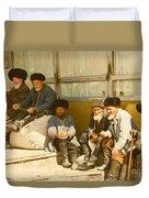 Group Of Uzbek Retirees Duvet Cover
