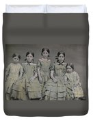 Group Portrait Of Five Sisters Duvet Cover
