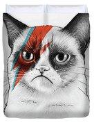 Grumpy Cat As David Bowie Duvet Cover by Olga Shvartsur