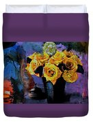 Grunge Friendship Rose Bouquet With Candle By Lisa Kaiser Duvet Cover