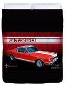 Red Gt 350 Mustang Duvet Cover