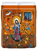 Guadalupe Visits Miro Duvet Cover