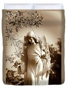 Guardian Angel Bw Duvet Cover