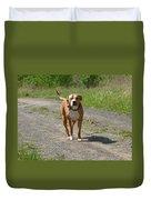 Guarding Pit Bull Dog Duvet Cover