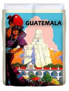 Guatemala City, Woman In Traditional Costume With Vase On Her Head Duvet Cover