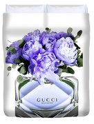Gucci Perfume With Flower Duvet Cover