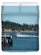 Guemes Island And Fishing Boat Duvet Cover