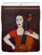Guilhermina Suggia - Woman Cellist Of Fire Duvet Cover