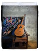 Guitar On A Bench Duvet Cover
