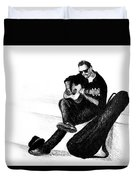 Guitarist Playing On The Street. Drawing Illustration Duvet Cover