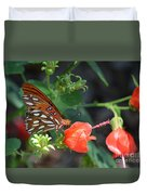 Gulf Fritillary Butterfly On Beautiful Flowers  Duvet Cover