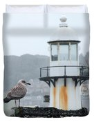 Gull And Lighthouse Duvet Cover