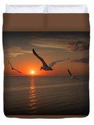 Gulls Flying Towards The Sun Duvet Cover