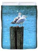 Gulls On Piling Duvet Cover