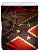 Gun And Confederate Flag Duvet Cover