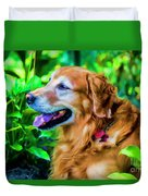 Gus In Flower Bed 10357t2a Duvet Cover