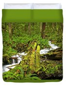 Gushing Through Ferns And Forest Duvet Cover