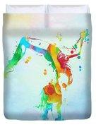 Gymnast Watercolor Paint Splatter Duvet Cover