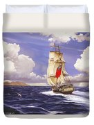 H. M. S. Bounty At Tahiti Duvet Cover