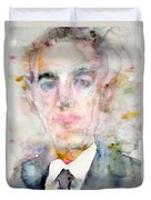 H. P. Lovecraft - Watercolor Portrait.3 Duvet Cover