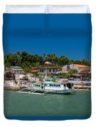 Hagnaya's Port And Fishing Village Duvet Cover