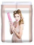 Hair Style Model. Pinup Girl With Large Pink Comb Duvet Cover