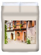 Half-timbered House Of Eguisheim, Alsace, France.  Duvet Cover