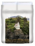 Halibut Cove Lighthouse Duvet Cover
