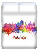 Halifax V2 Skyline In Watercolor Splatters With Clipping Path Duvet Cover